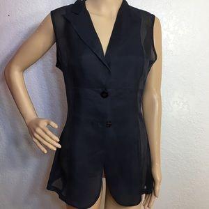 Max Mara Black Silk One Button Tunic